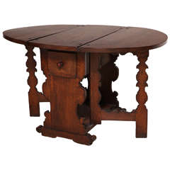 Antique Flemish Oak Drop-Leaf Gate Leg Table