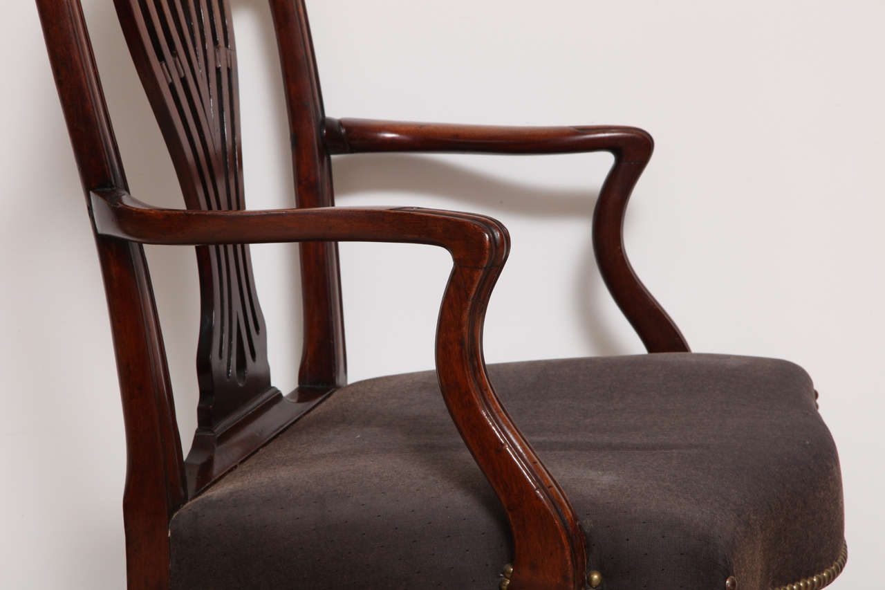 George III Mahogany Armchair in the Manner of Hepplewhite For Sale 2