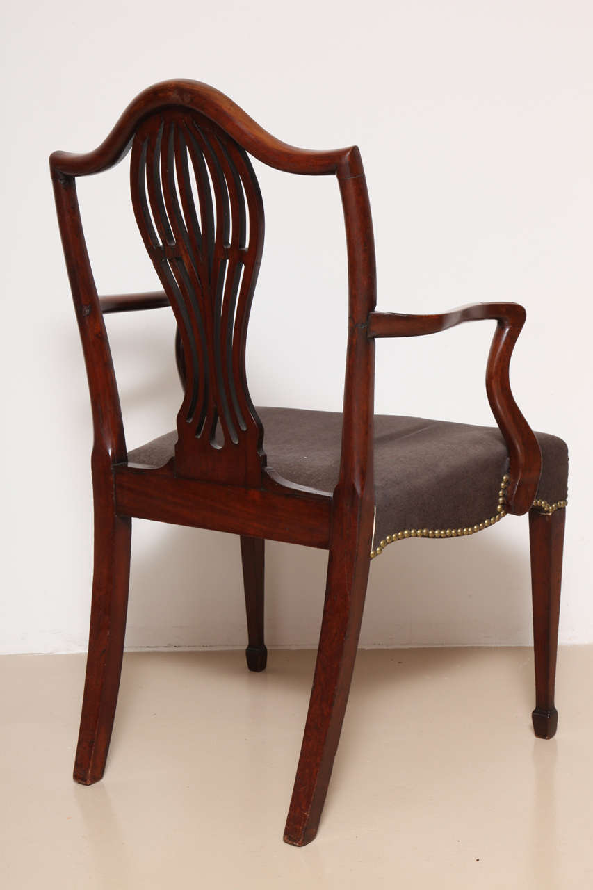 George III Mahogany Armchair in the Manner of Hepplewhite For Sale 4