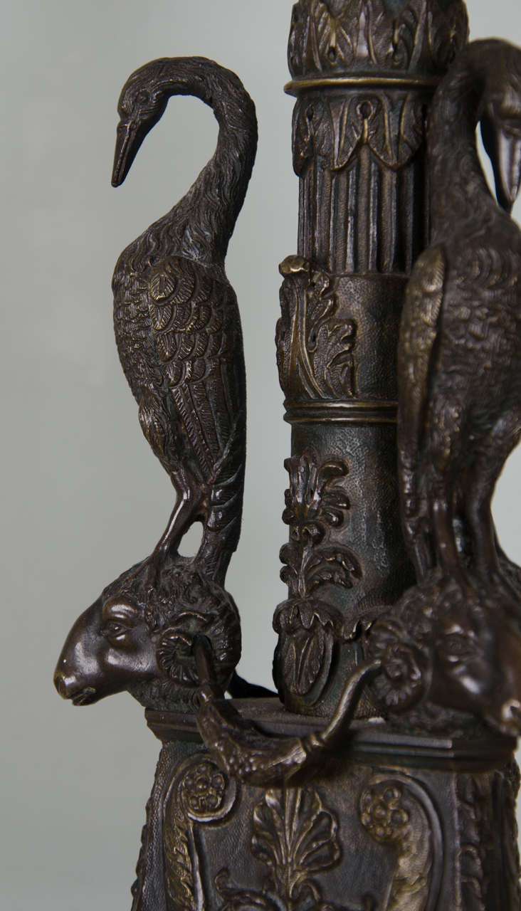 Pair of Gilt Bronze Candlesticks of Neoclassical Form For Sale 2