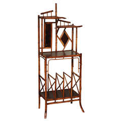 19th Century English Bamboo Whatnot Magazine stand with Table