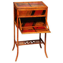 19th Century English Bamboo Side Table and Sewing Box