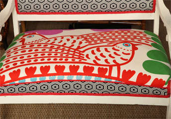 Vintage White Settee with Merimekko Fabric thumbnail 3