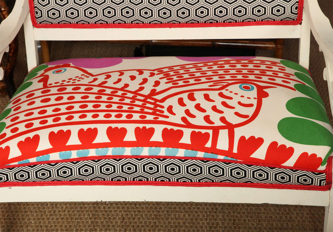Vintage White Settee with Merimekko Fabric image 3