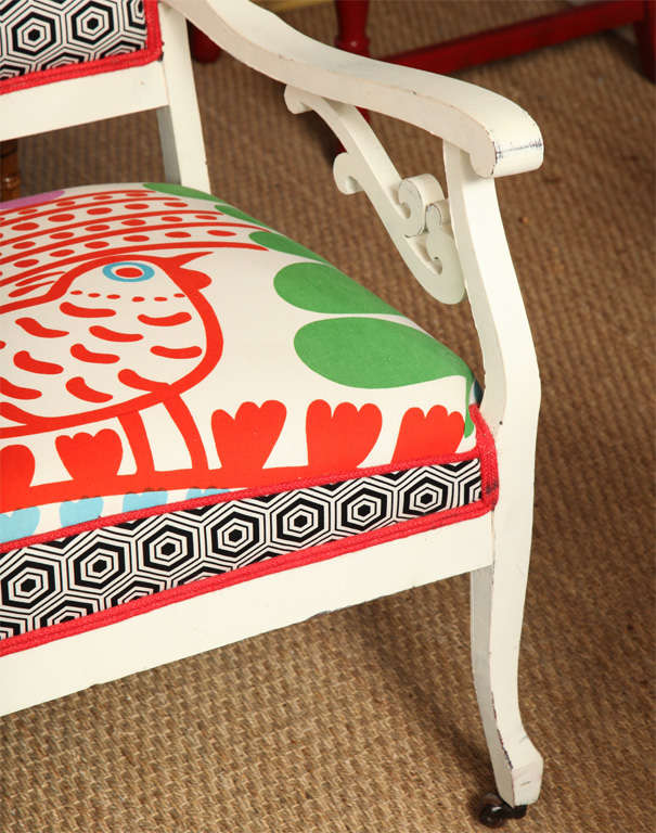 Vintage White Settee with Merimekko Fabric image 4