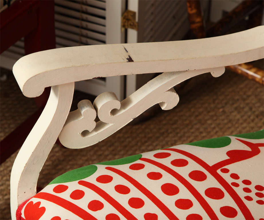 Vintage White Settee with Merimekko Fabric image 6