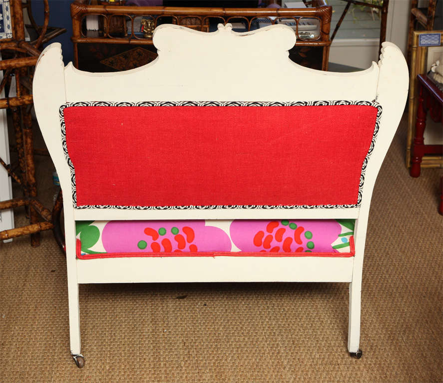 Vintage White Settee with Merimekko Fabric image 9