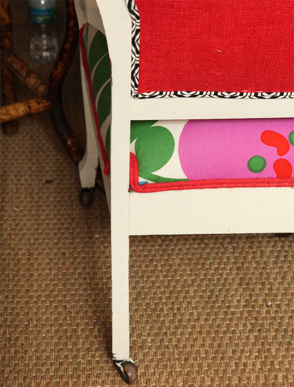 Vintage White Settee with Merimekko Fabric image 10