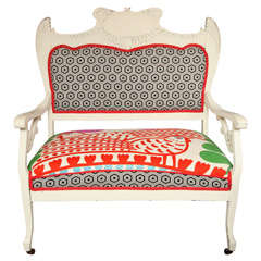 Vintage White Settee with Merimekko Fabric thumbnail 1