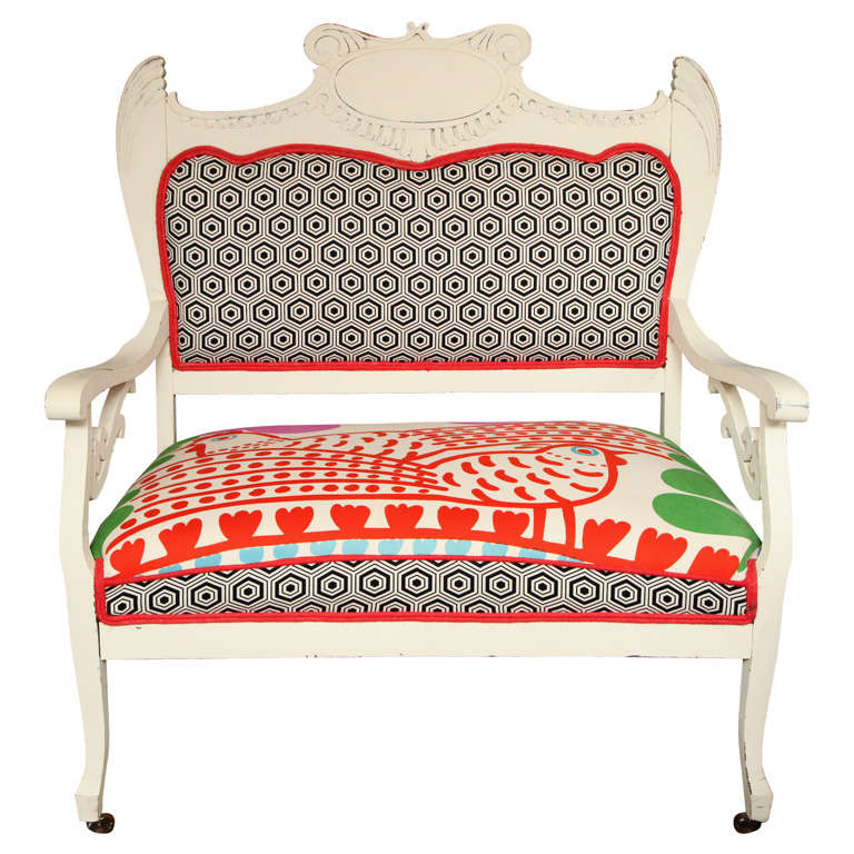 Vintage White Settee with Merimekko Fabric