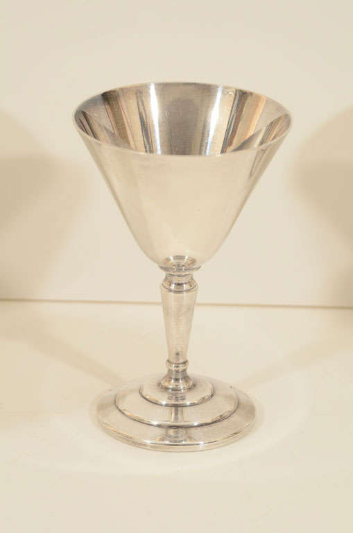 English Set of Six Cocktail Glasses by Mappin & Webb For Sale