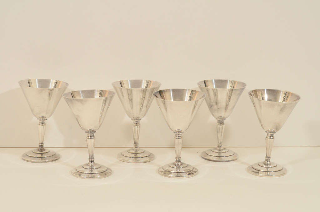 Set of Six Cocktail Glasses by Mappin & Webb For Sale 3