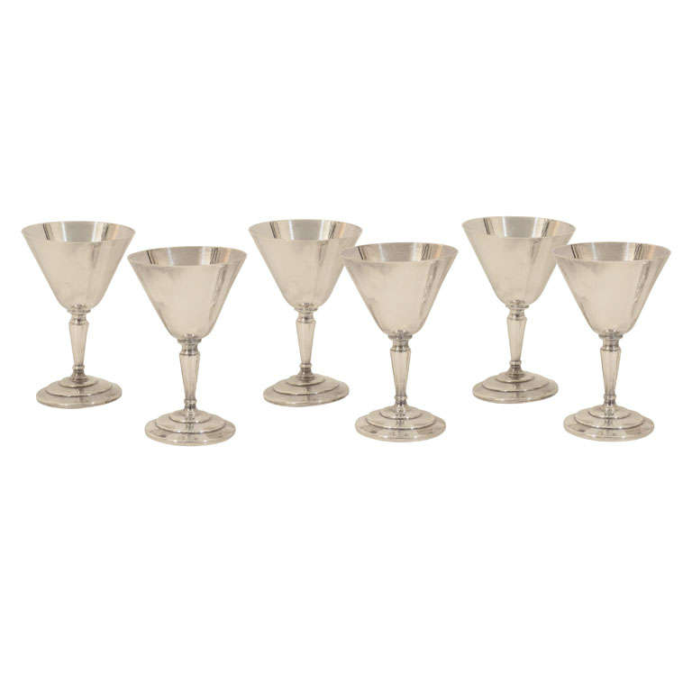 Set of Six Cocktail Glasses by Mappin & Webb For Sale