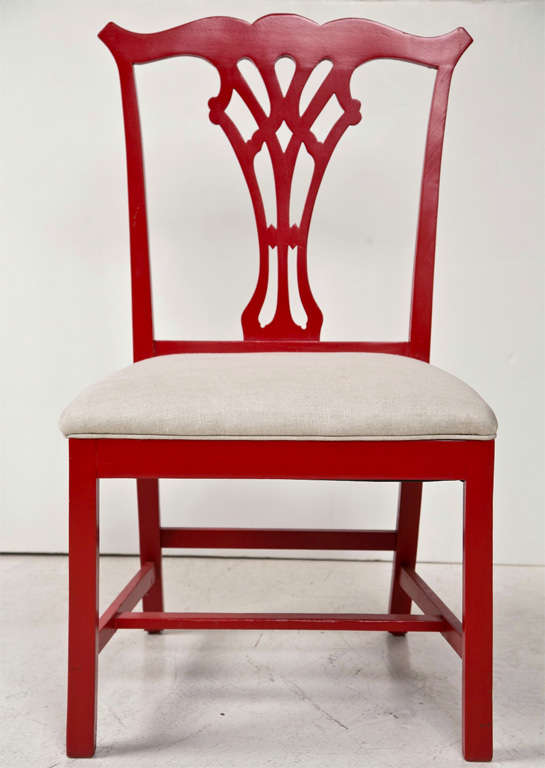 Pair of Red Lacquer Queen Anne Style Chairs, newly upholstered in Belgian Linen