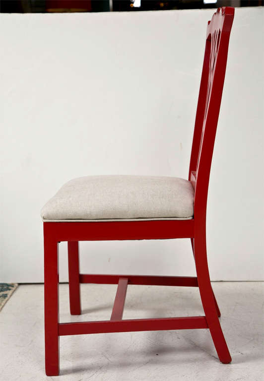 20th Century Pair of Red Lacquer Queen Anne Style Chairs For Sale
