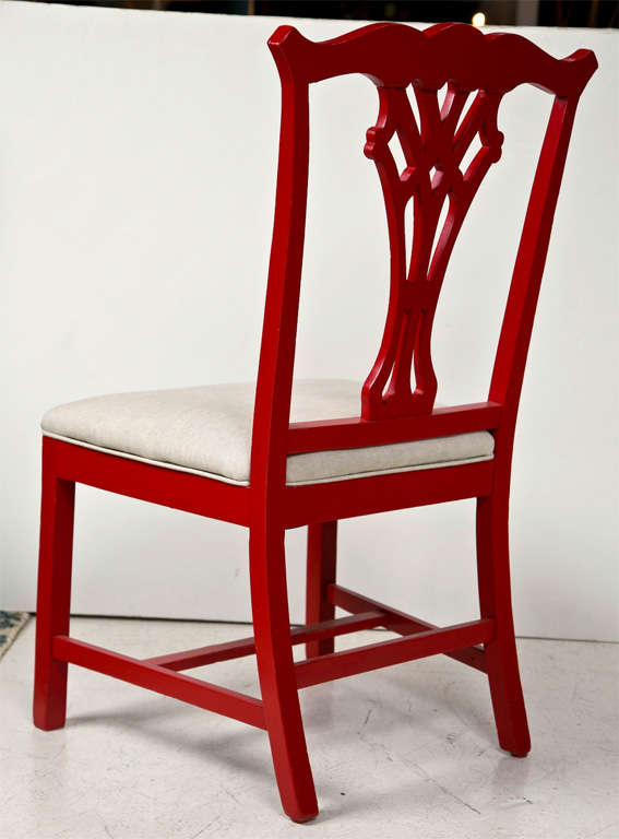Pair of Red Lacquer Queen Anne Style Chairs For Sale 1