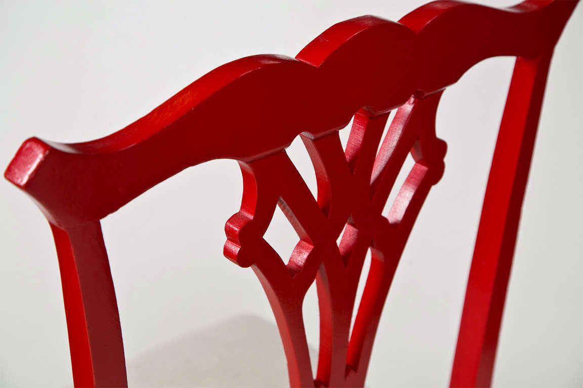 Pair of Red Lacquer Queen Anne Style Chairs For Sale 2