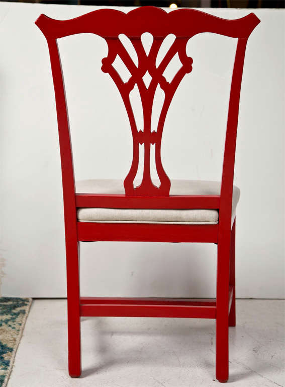Pair of Red Lacquer Queen Anne Style Chairs For Sale 3