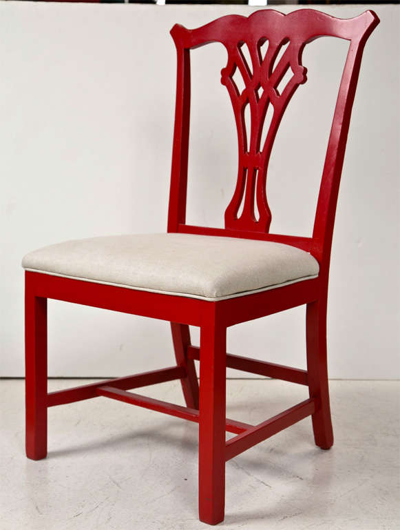 Pair of Red Lacquer Queen Anne Style Chairs For Sale 4