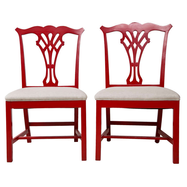 Pair of Red Lacquer Queen Anne Style Chairs For Sale