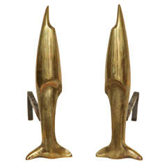 Pierre Legrain French Art Deco Pair of Bronze Andirons Attributed