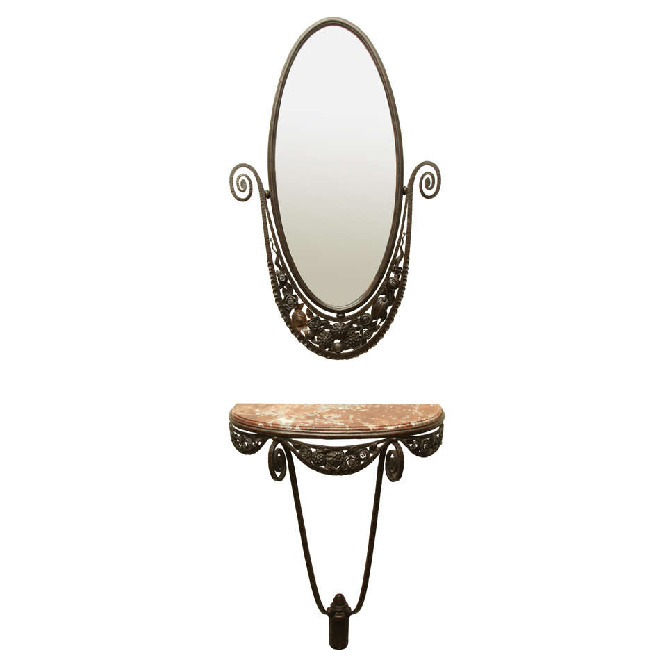 Edgar Brandt Art Deco Wrought Iron and Marble Console and Mirror