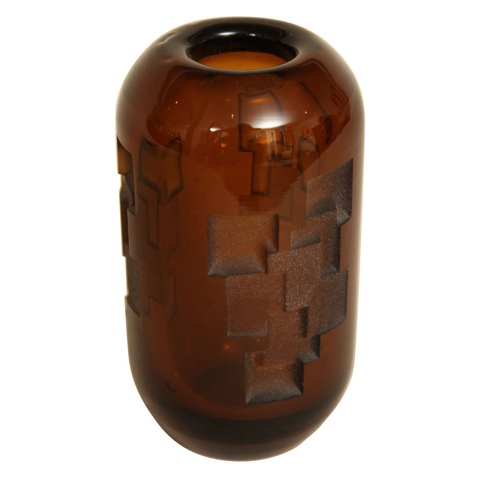 Art deco etched amber glass vase by jean luce at 1stdibs art deco etched amber glass vase by jean luce for sale floridaeventfo Image collections