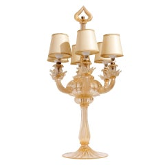 Seguso Murano Glass  Mid Century  Six-Light Table Lamp  Gold Leaf , 1940