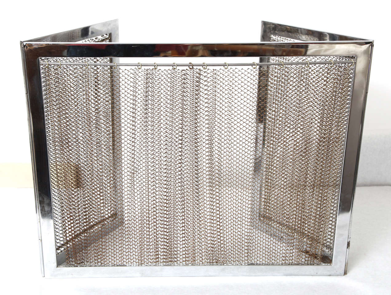 chrome and metal fireplace screen for sale at 1stdibs