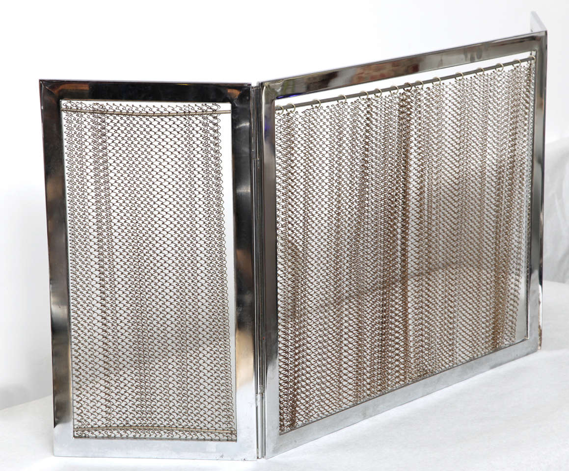 Chrome and metal fireplace screen for sale at 1stdibs french chrome and metal fireplace screen for sale teraionfo