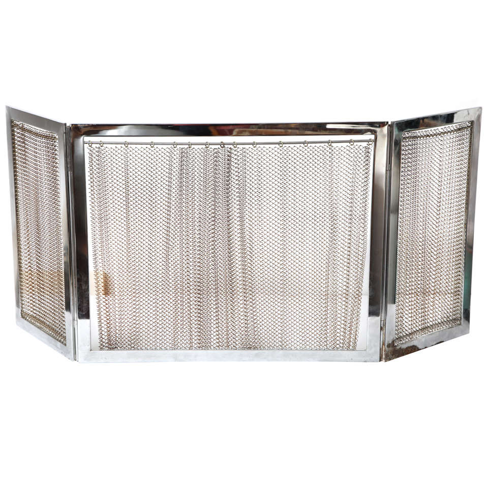For Sale on 1stdibs - A chrome fireplace screen with metal mesh.
