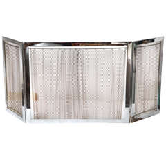 Chrome and Metal Fireplace Screen
