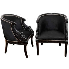 Pair of  1940's Black Lacquer American Carved Swan  Side Chairs