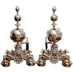Pair of English 1860's Nickel Plated Andirons