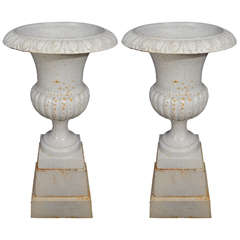 Pair of Mid Century Garden Urns on Cast Iron Pedestals