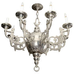 Substantial 18th Century Nickel Plated Zeus Figural Chandelier