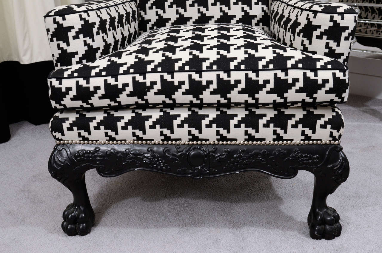 Ball and Claw English Wing Chair in Houndstooth with Nickel Nail Head Details In Excellent Condition For Sale In New York, NY