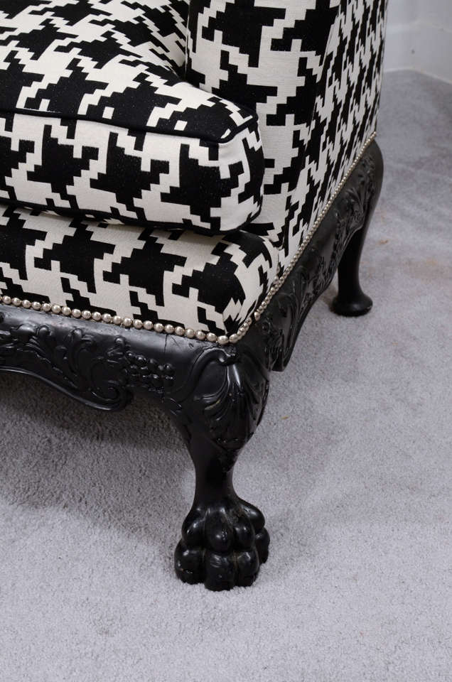 20th Century Ball and Claw English Wing Chair in Houndstooth with Nickel Nail Head Details For Sale