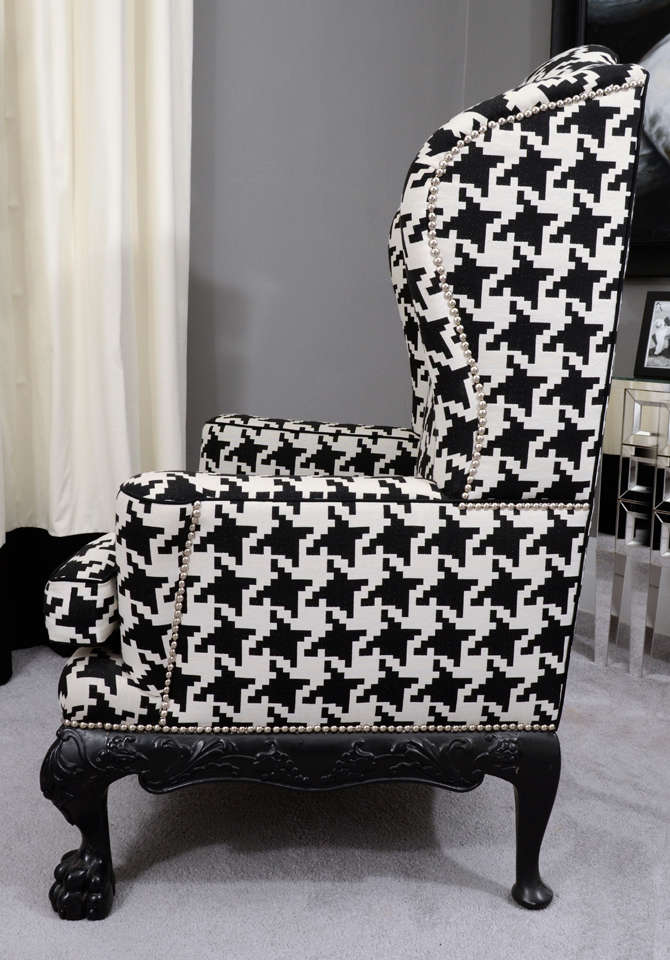 Ball and Claw English Wing Chair in Houndstooth with Nickel Nail Head Details For Sale 1