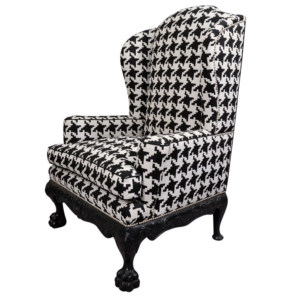 Ball and Claw English Wing Chair in Houndstooth with Nickel Nail Head Details For Sale