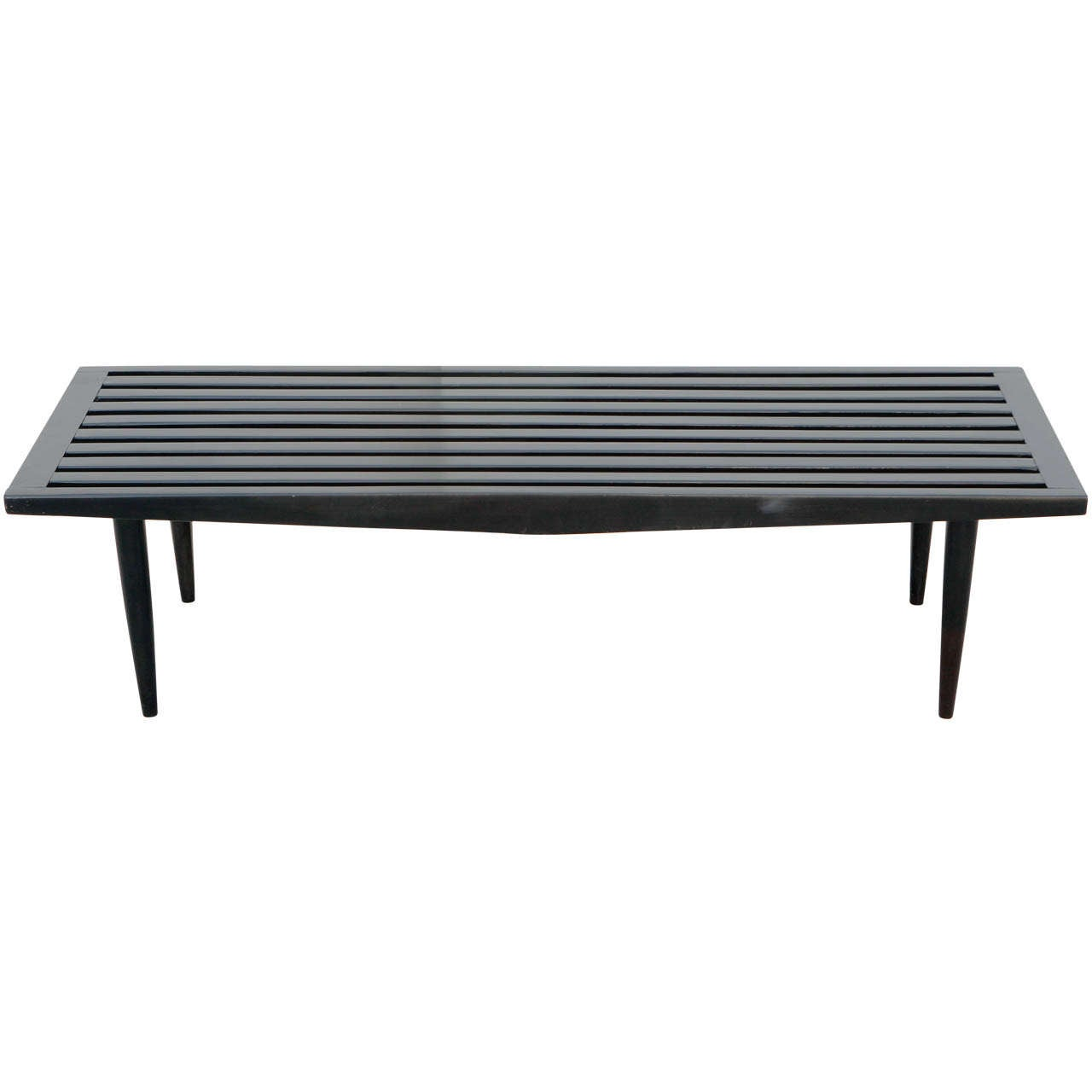 Midcentury Black Wood Slat Bench At 1stdibs