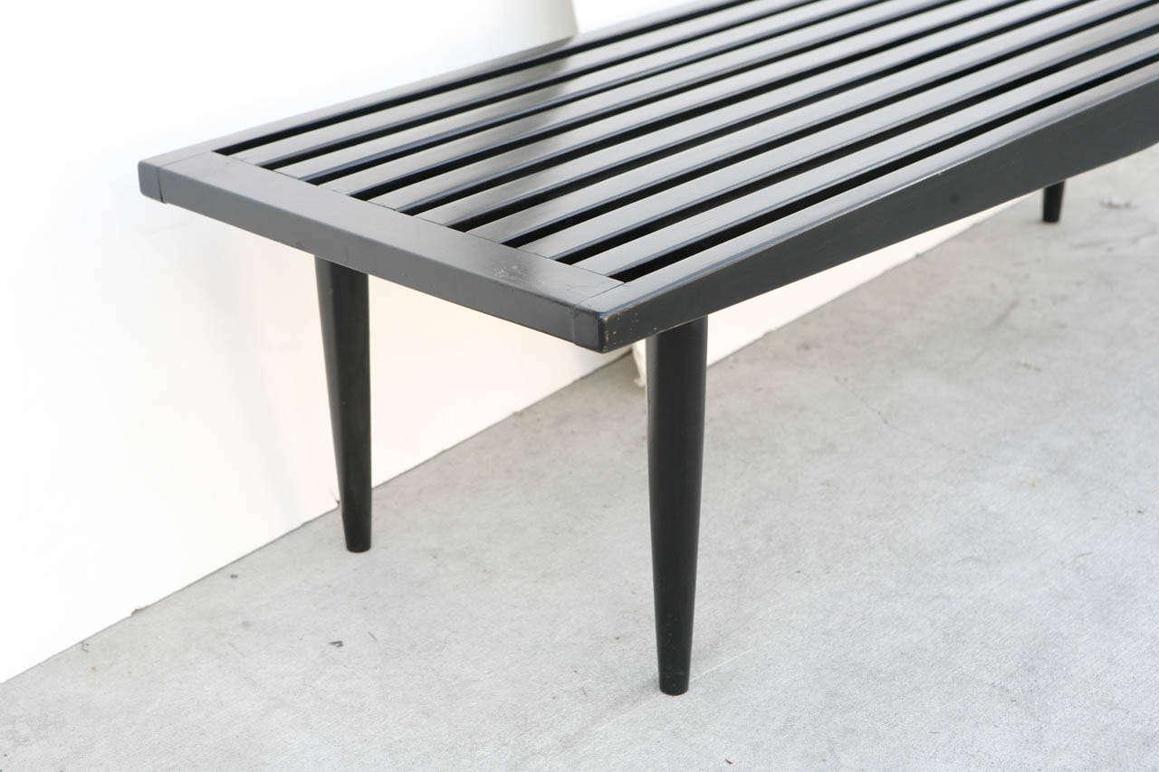 Midcentury Black Wood Slat Bench At 1stdibs