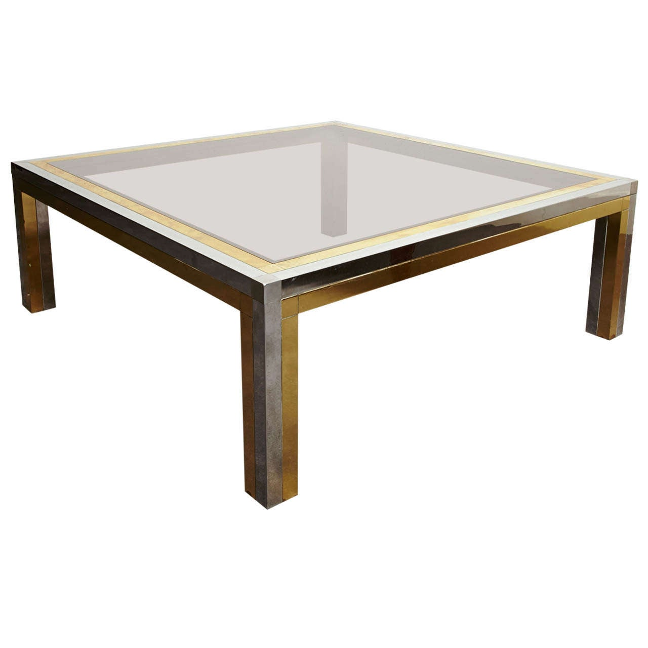 Square Steel Coffee Table Italian C 1970: Square Coffee Table, France, 1970s For Sale At 1stdibs