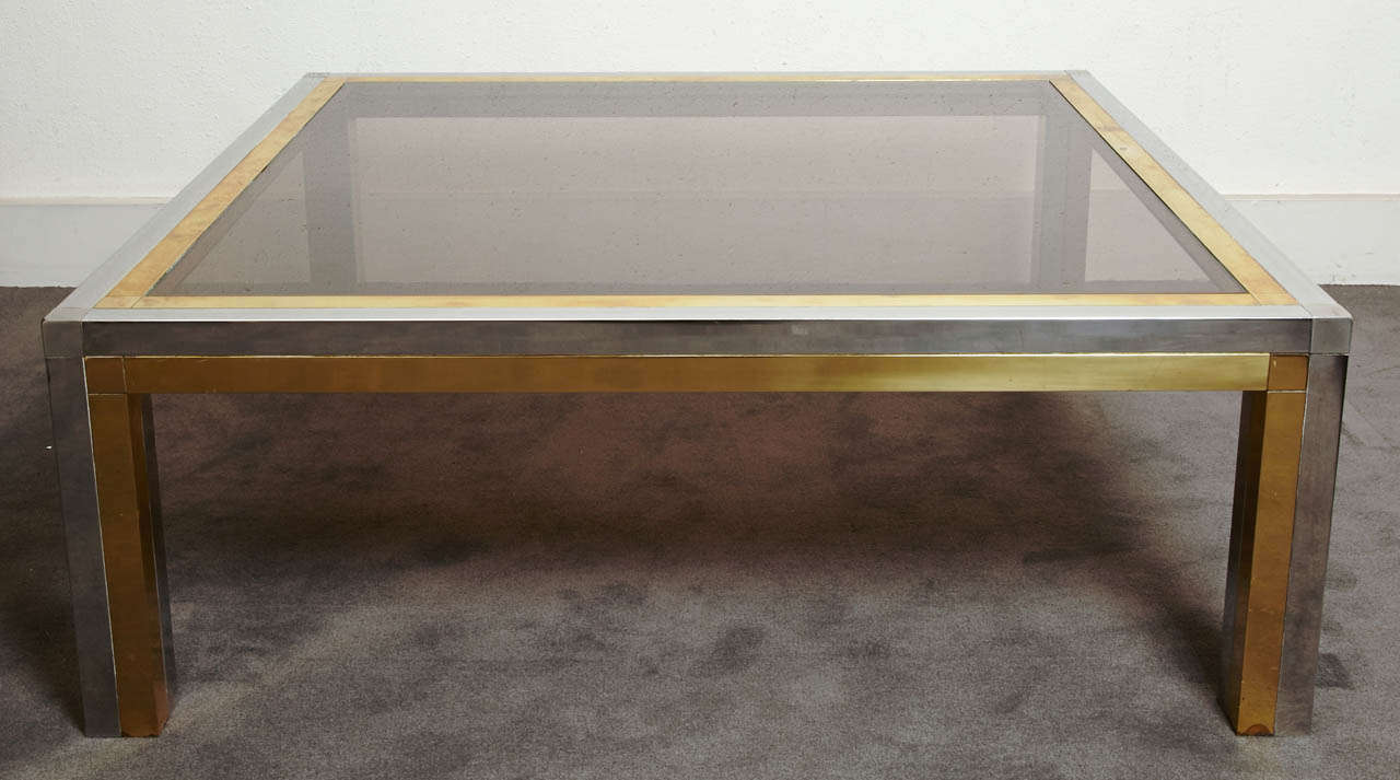 French Square Coffee Table, France, 1970s For Sale