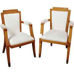 Pair of Beech Tree Armchairs by G. Darbois-Gaudin, 1949