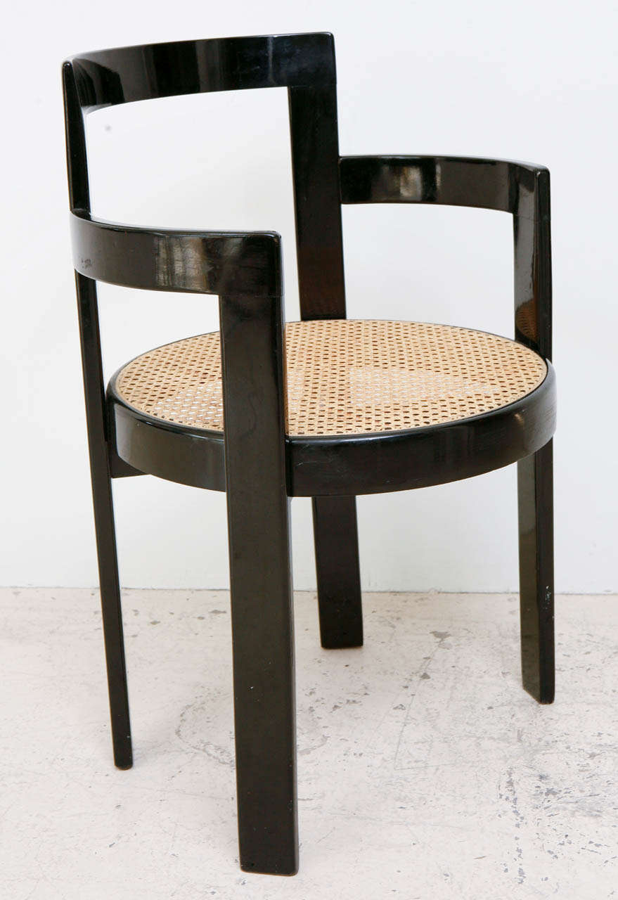 Set Of 6 Black Lacquer And Cane Thonet Chairs