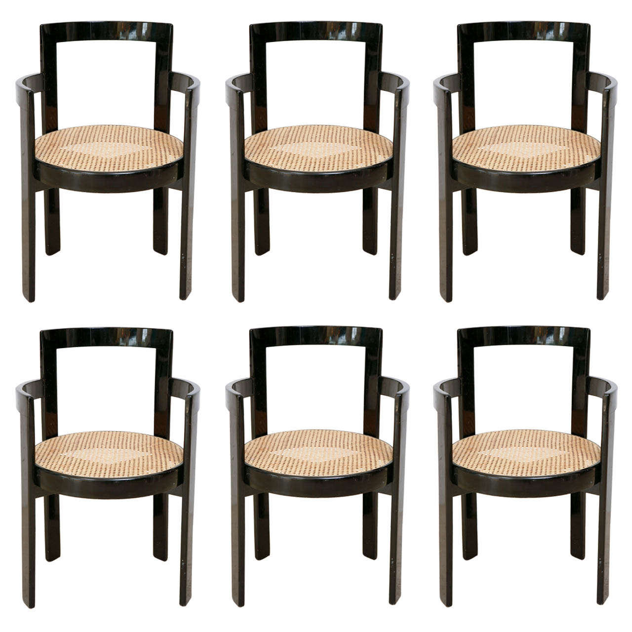 Set Of 6 Black Lacquer And Cane Thonet Chairs 1