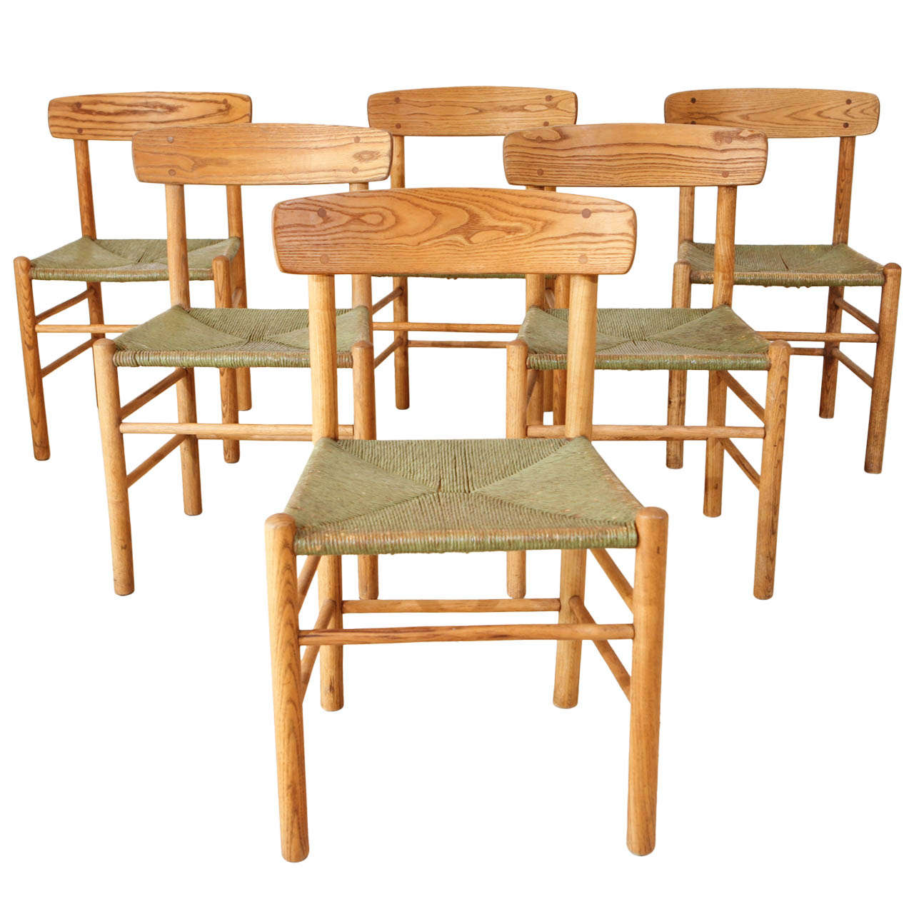 Set of 6 Early Borge Morgensen Original Shaker Chairs