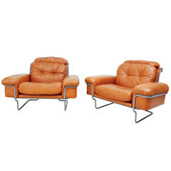 Pair of Tufted Leather Lounge Chairs