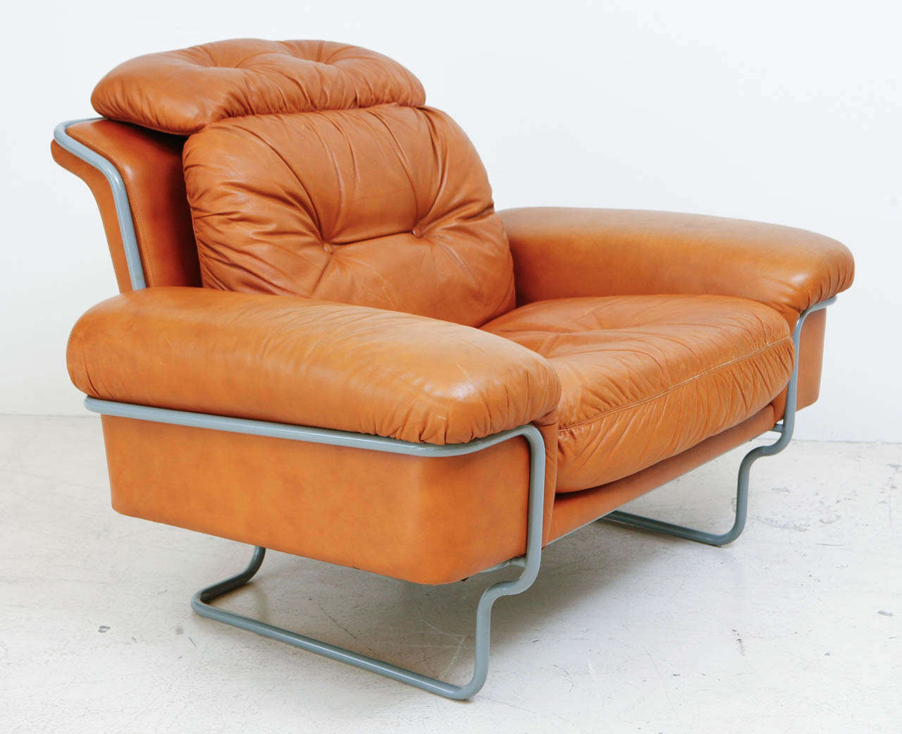 Pair of Tufted Leather Lounge Chairs at 1stdibs